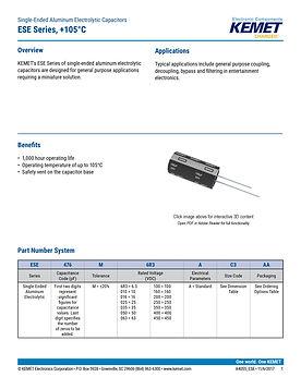KEMET ESE Series Aluminum Capacitors