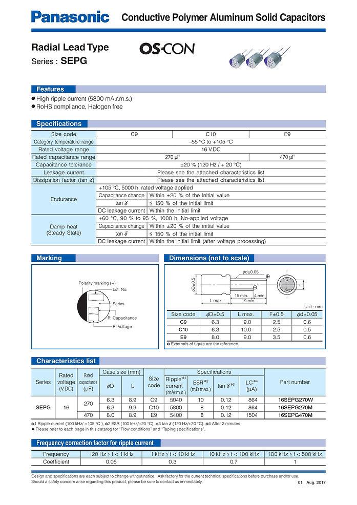 Panasonic SEPG Series Aluminum Capacitors