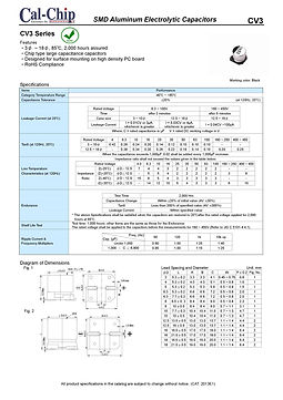 Cal Chip CV3 Series SMT Aluminum Electrolytic Capacitors