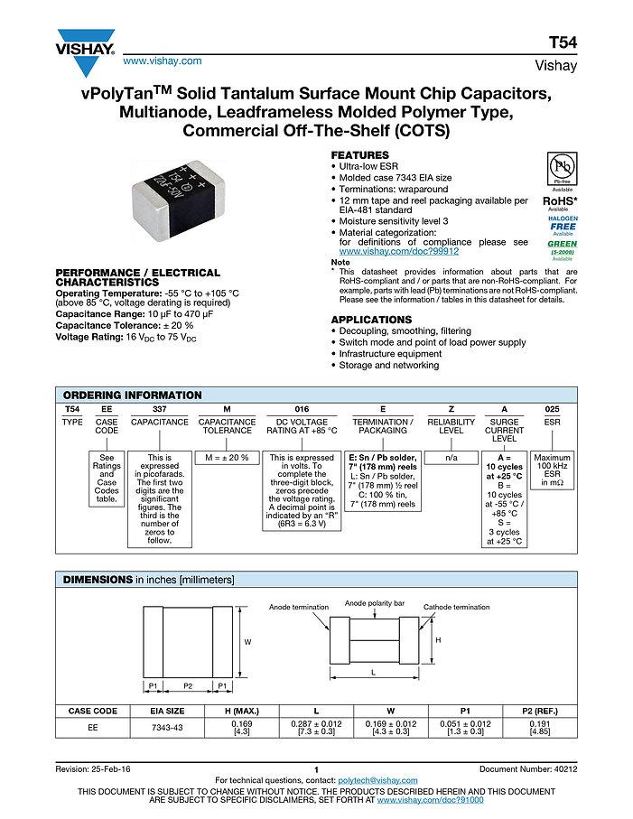 Vishay T54 Series Tantalum Capacitors