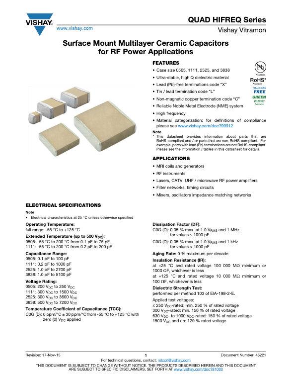 Vishay QUAD HIFREQ Series MLC Capacitors