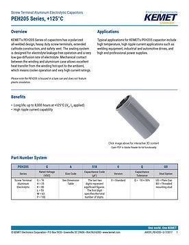 KEMET PEH205 Series Aluminum Electrolytic Capacitors
