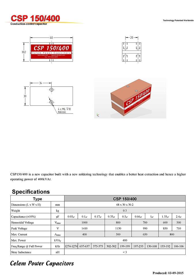 Celem CSP 150/400 Series Film Capacitors