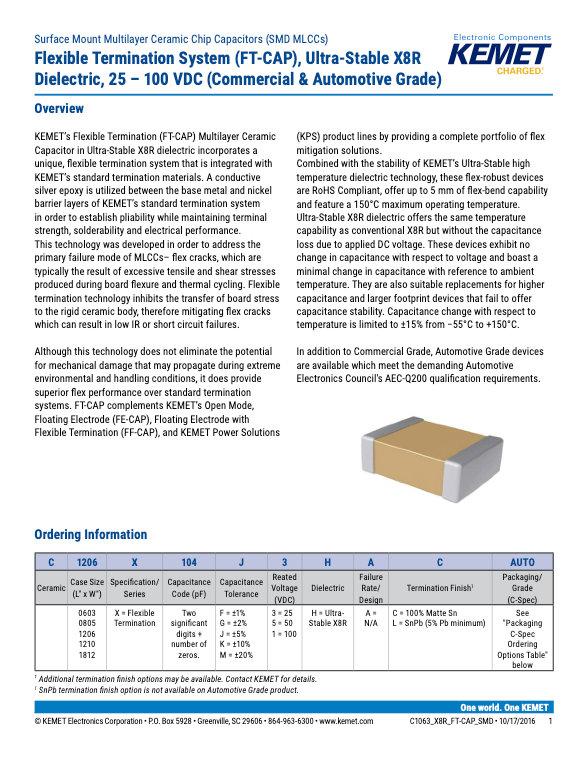 KEMET X8R FT-CAP MLC Capacitors
