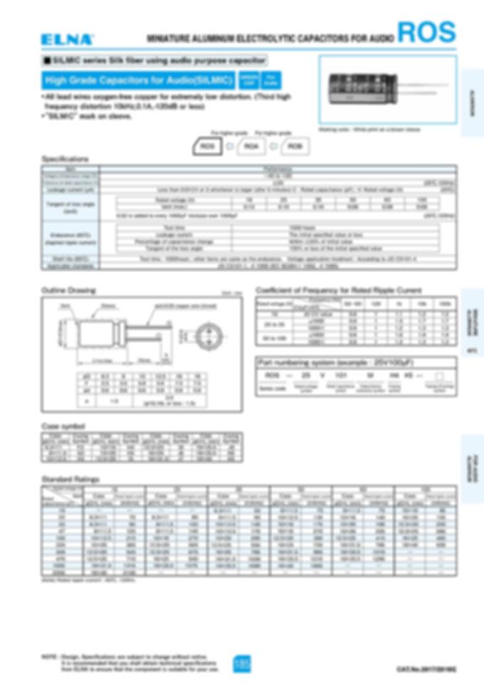 Elna ROS Series Aluminum Electrolytic Capacitors