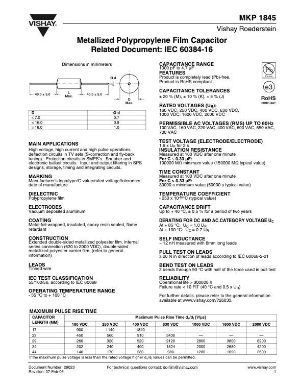 Vishay MKP1845 Series Plastic Film Capacitors
