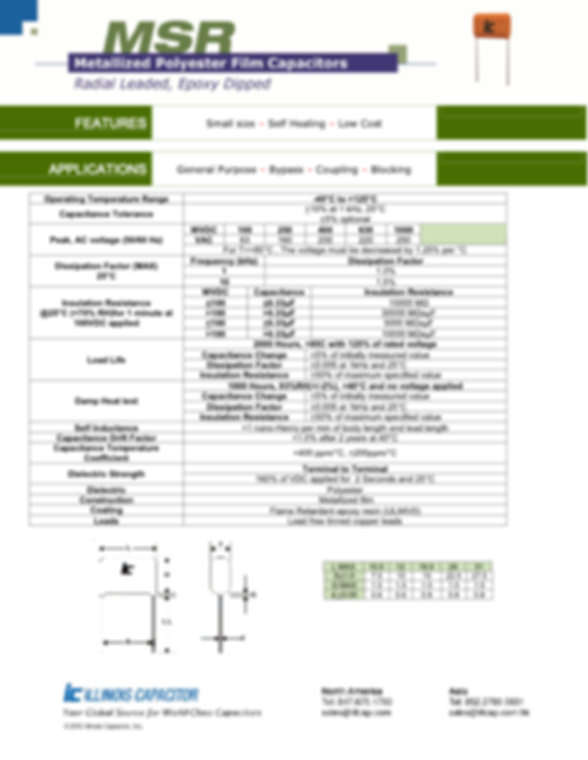 Illinois Capacitor MSR Series Plastic Film Capacitors