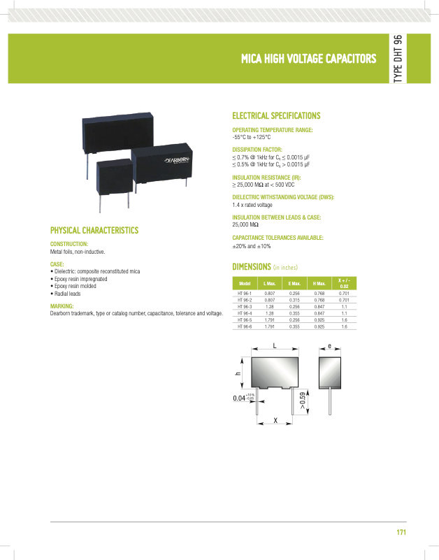 Dearborn DHT96 Series High Voltage Mica Capacitors