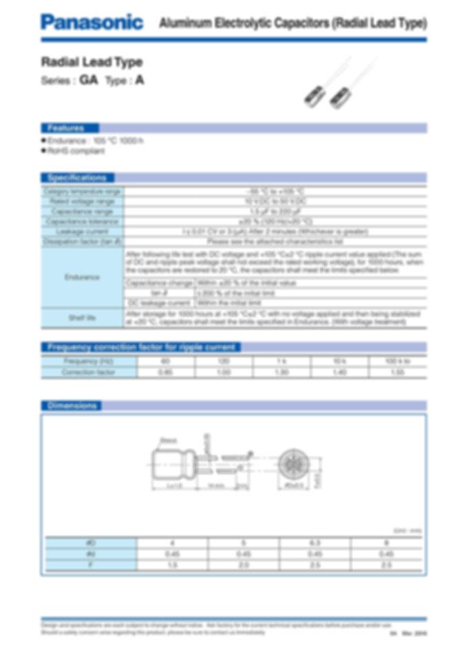 Panasonic GA Series Aluminum Capacitors
