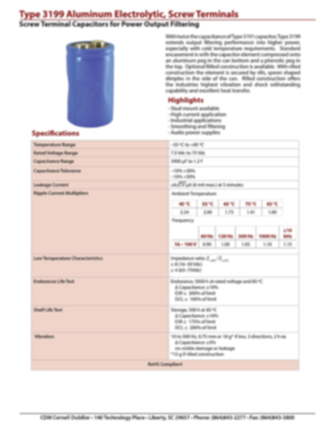 CDE Type 3199 Aluminum Electrolytic Capacitors