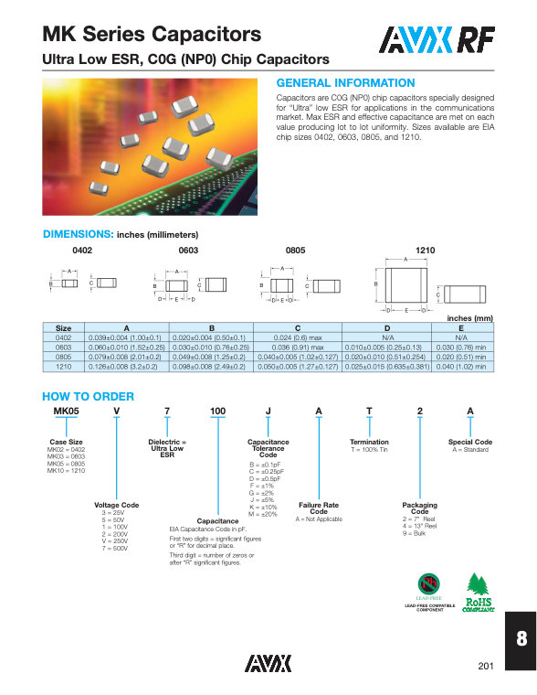 AVX MK Series MLC Capacitors