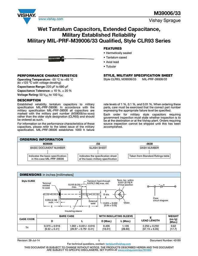Vishay M39006/33 Series Wet Tantalum Capacitors