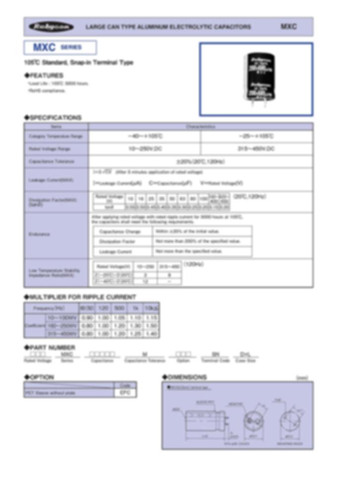 Rubycon MXC Series Snap In Aluminum Electrolytic Capacitors