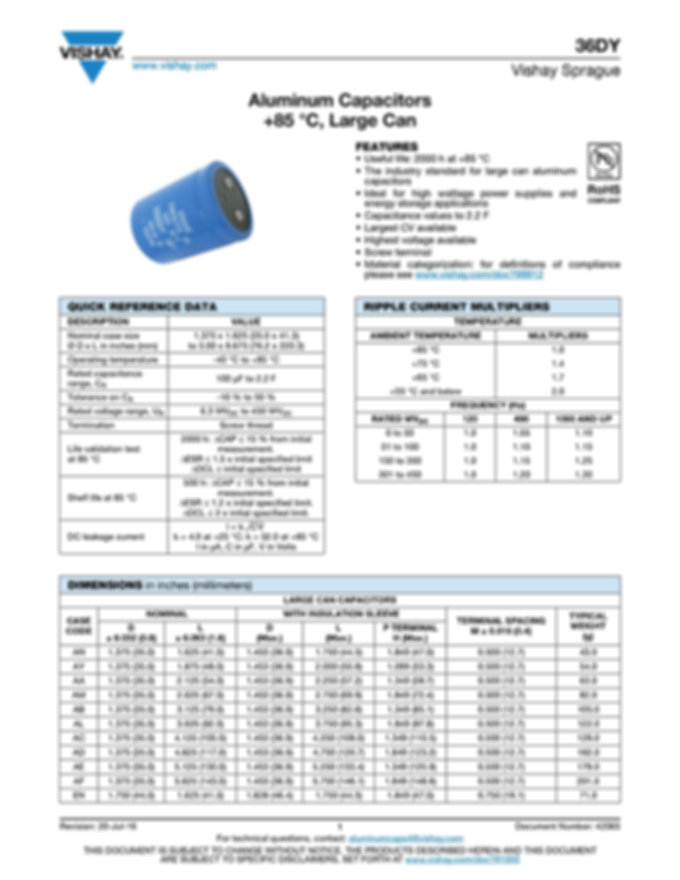 Vishay 36DY Series Aluminum Electrolytic Capacitors