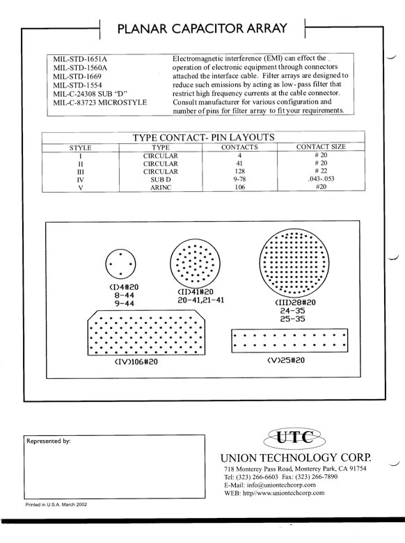 Union Technology Planar Capacitor Arrays
