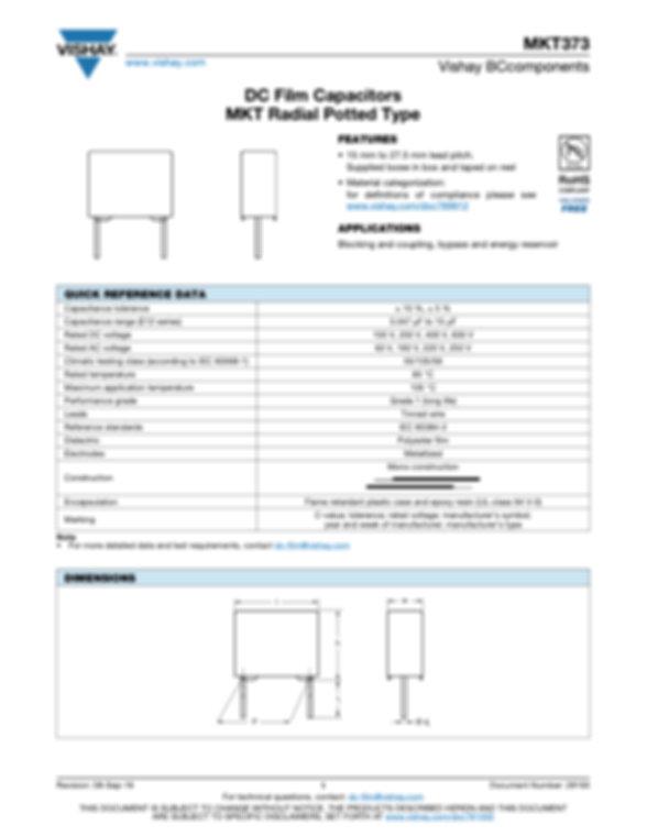 Vishay MKT373 Series Plastic Film Capacitors