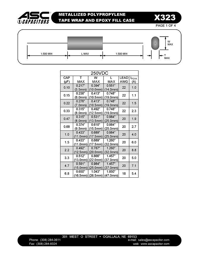 ASC X323 Series Film Capacitors