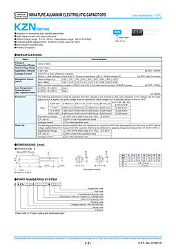 Nippon Chemi Con KZN Series Aluminum Electrolytic Capacitors
