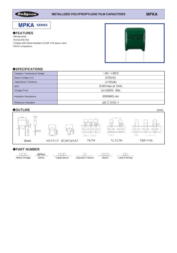 Rubycon MPKA Series Radial Plastic Film Capacitors