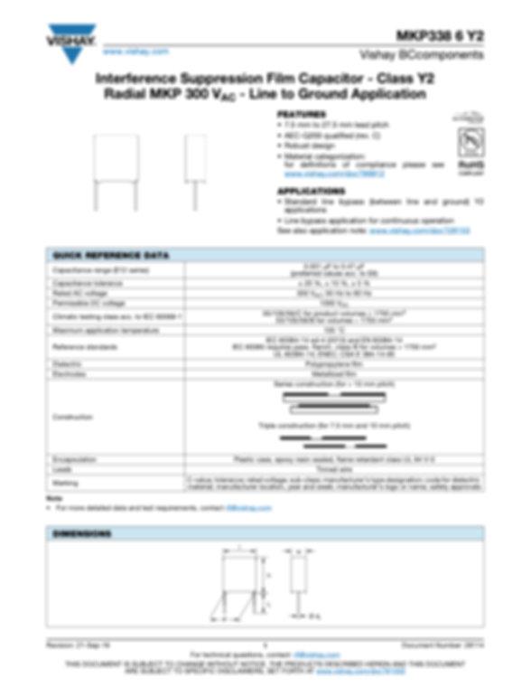 Vishay MKP338 6 Y2 Series Plastic Film Capacitors