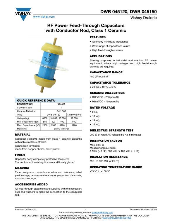 Vishay DWB 0451... Series RF Power Ceramic Capacitors