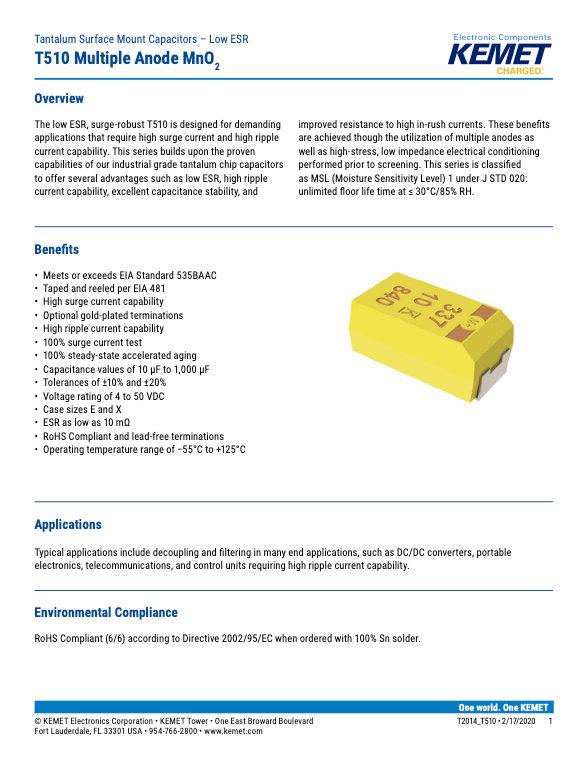 KEMET T510 Series Tantalum Capacitors