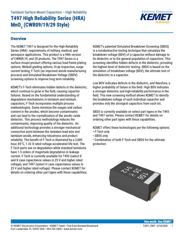 KEMET T497 Series Tantalum Capacitors