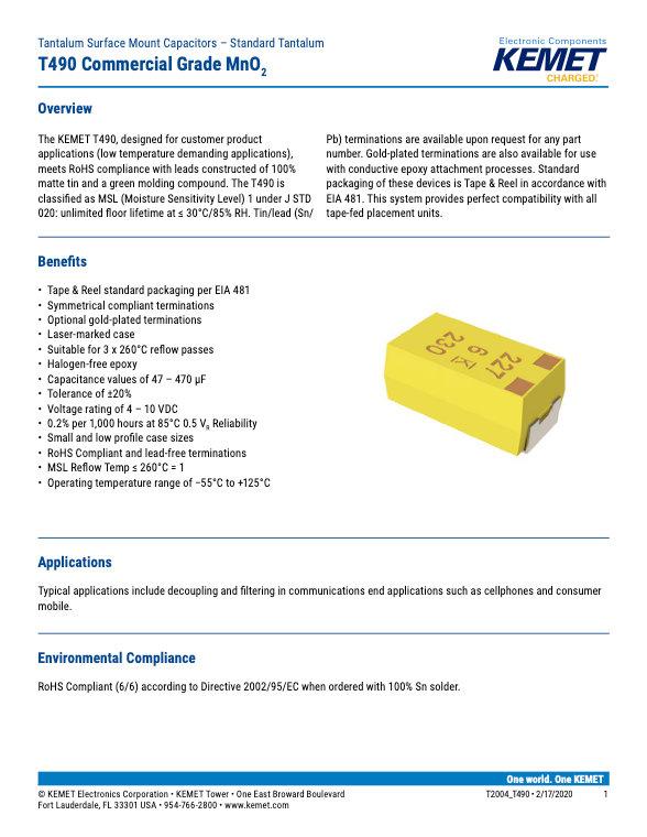 KEMET T490 Series Tantalum Capacitors