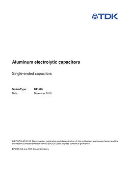 Epcos B41896 Series Aluminum Electrolytic Capacitors