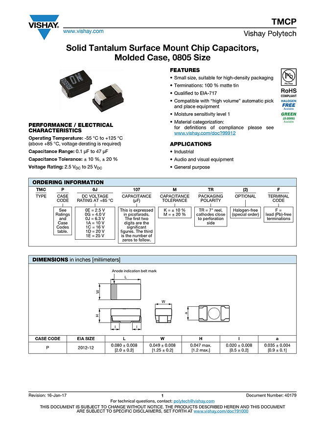 Vishay TMCP Series SMT Tantalum Capacitors