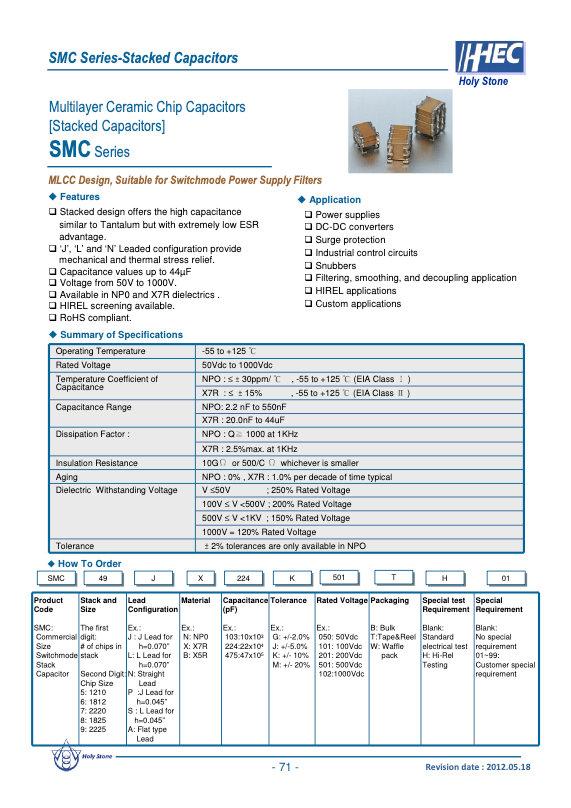 Holystone SMC Series MLC Capacitors