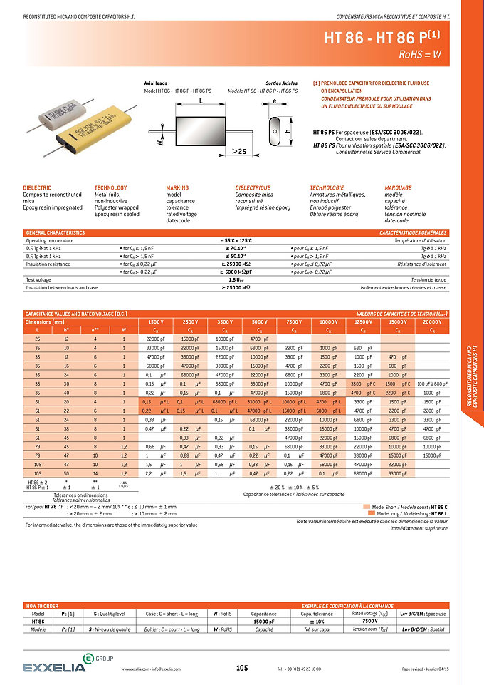 Exxelia HT 86 Series Film Capacitors