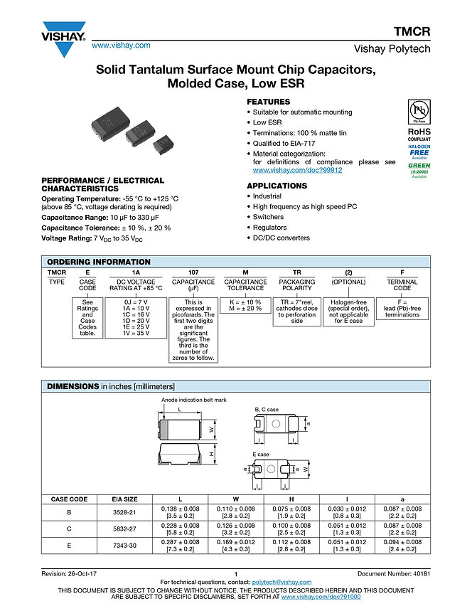 Vishay TMCR Series Tantalum Capacitors