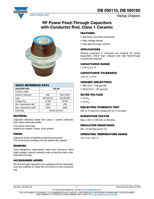 Vishay DB 0501... Series RF Feed Through Ceramic Capacitors