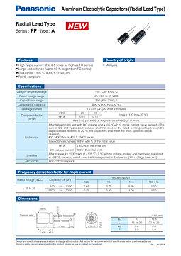 Panasonic FP A Series Aluminum Capacitors