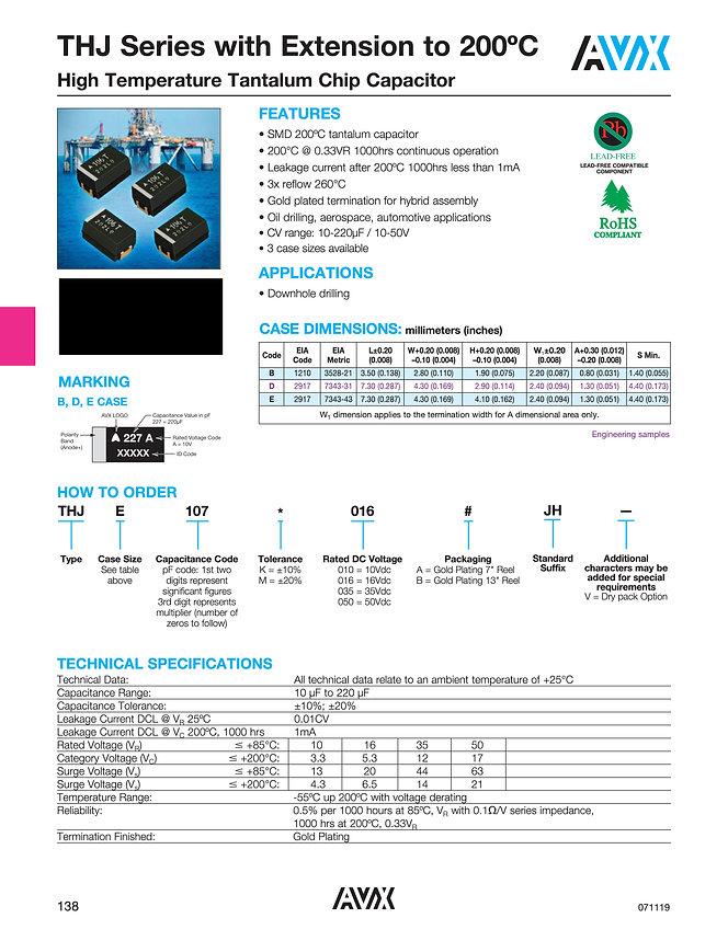 AVX THJ 200° C Series Tantalum Capacitors