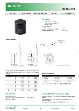 SIC SAFCO SNAPSIC 4P Series Snap In Aluminum Electrolytic Capacitors