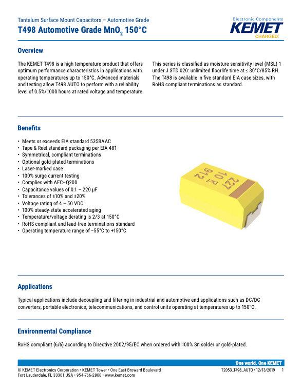 KEMET T498 Series Tantalum Capacitors