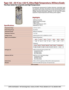 CDE Type 125 Aluminum Electrolytic Capacitor