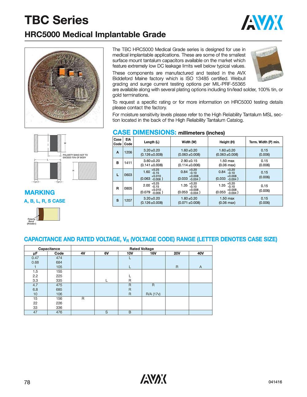 AVX TBC HRC5000 Series Capacitor