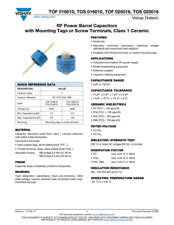 Vishay TOF, TOS... Series RF Ceramic Capacitors
