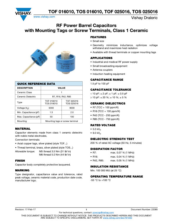 Vishay TOF, TOS... Series RF Ceramic Capacitors