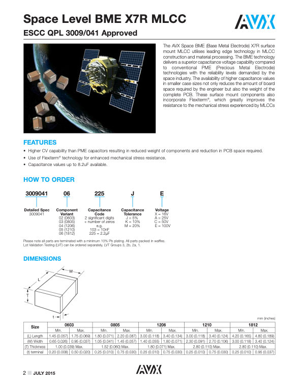 AVX Space Level BME MLC Capacitors