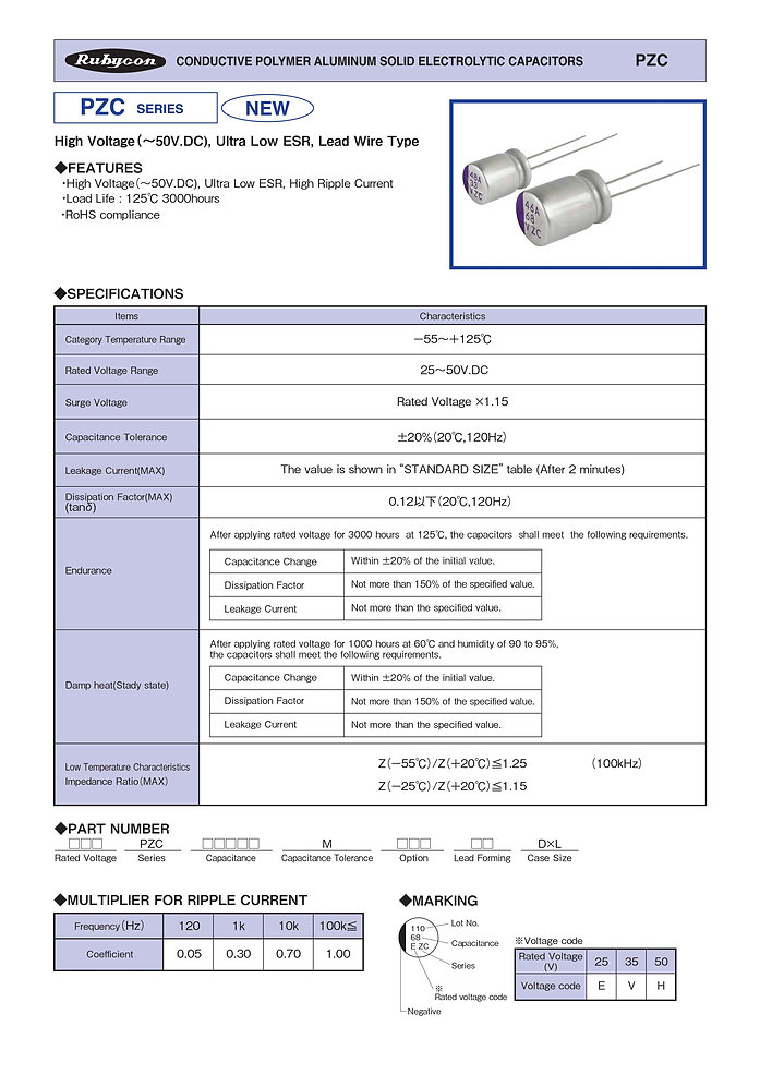 Rubycon PZC Series Radial Leaded Aluminum Polymer Capacitors