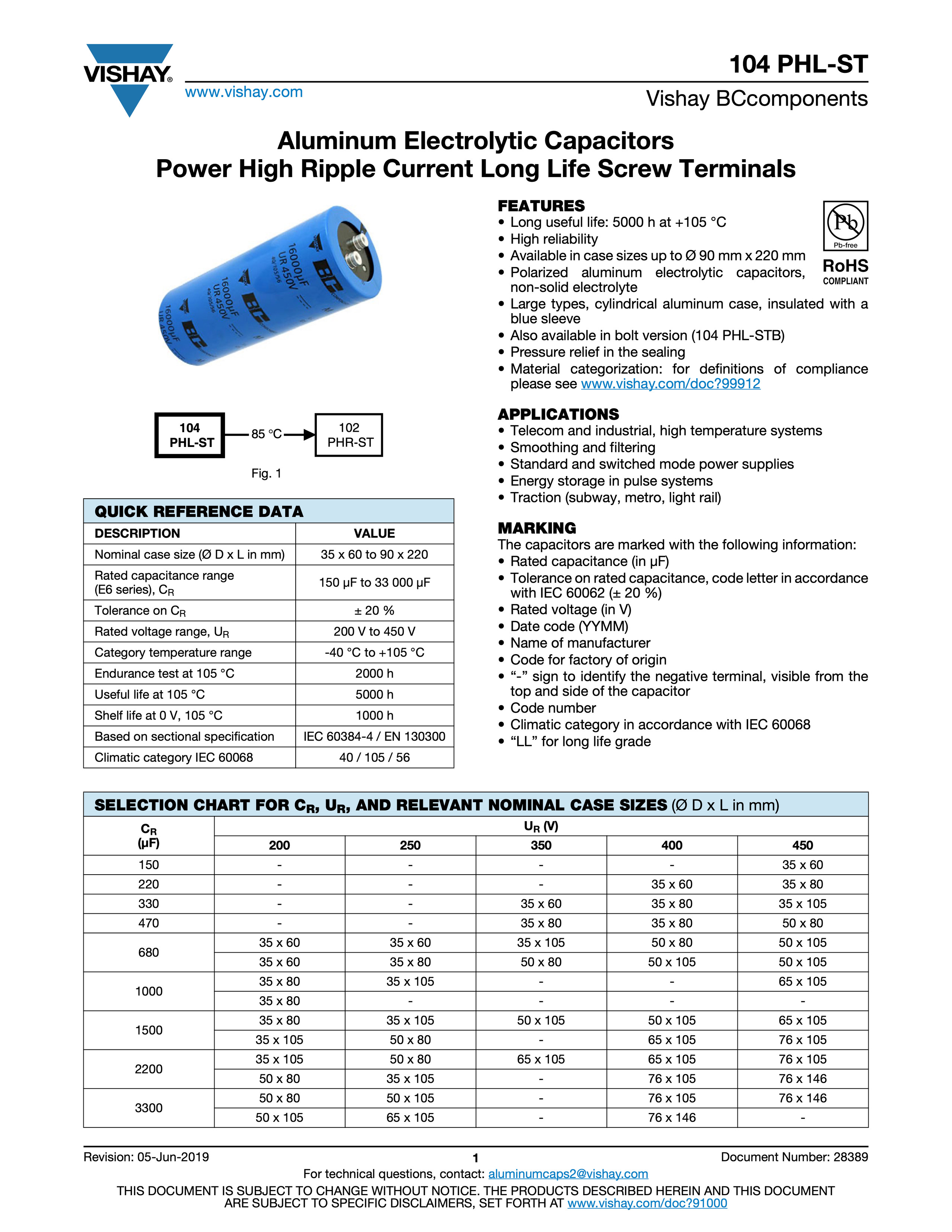 Vishay 104 PHL-ST Series Capacitor Data Sheet