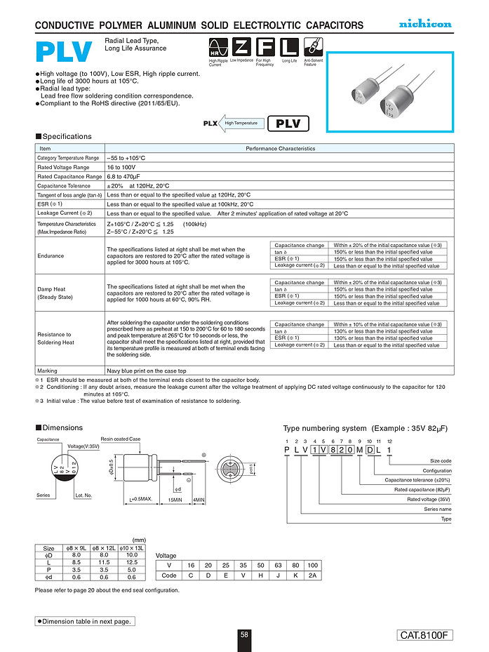 Nichicon PLV Series Aluminum Polymer Capacitors