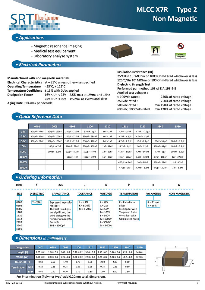 SRT Microceramique X7R Non Magnetic MLC Capacitors