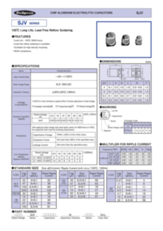 Rubycon SJV Series SMT Aluminum Electrolytic Capacitors