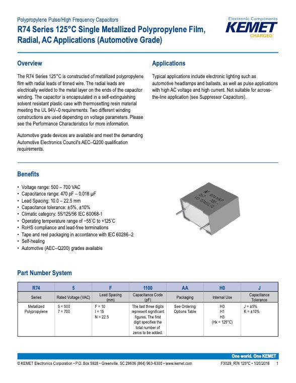 KEMET R74 125°C Series Plastic Film Capacitors