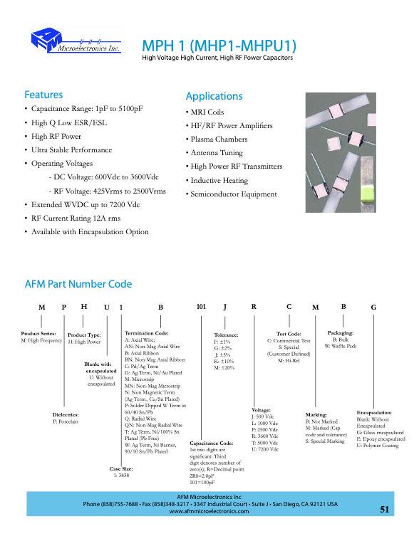 AFM Microelectronics MPH1 Series MLC Capacitors